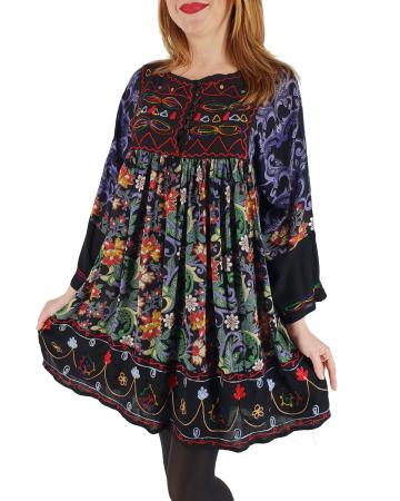 Rochie/Bluza brodata cu imprimeu floral Oana0