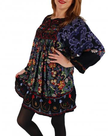 Rochie/Bluza brodata cu imprimeu floral Oana1