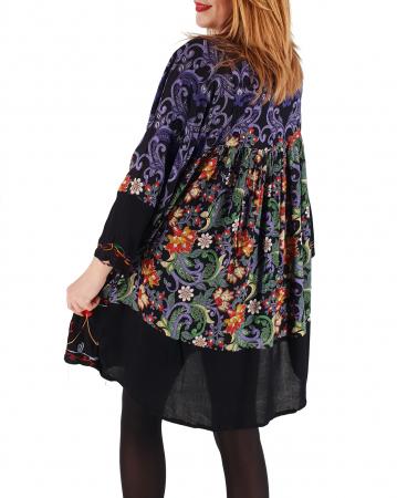 Rochie/Bluza brodata cu imprimeu floral Oana3