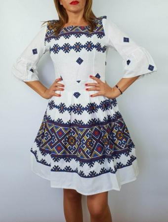 Rochie stilizata cu motive traditionale Nicoleta 42