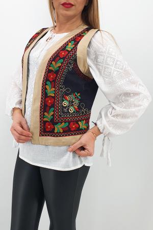 Vesta brodata cu model traditional Jenica 20