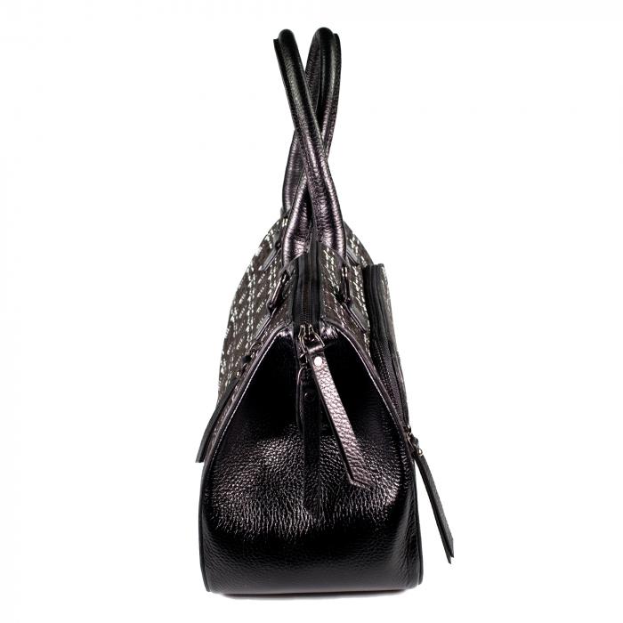 Geanta de dama din piele naturala, Reform, model 4123, Negru cu imprimeu [4]