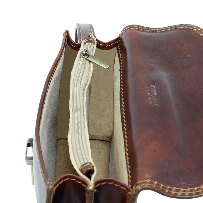 Borseta de mana din piele vachetta maro coniac S4406 [2]