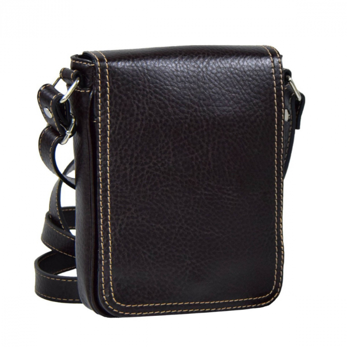 Borseta geanta din piele moale casual, de barbati, maro cu capac 044 [0]