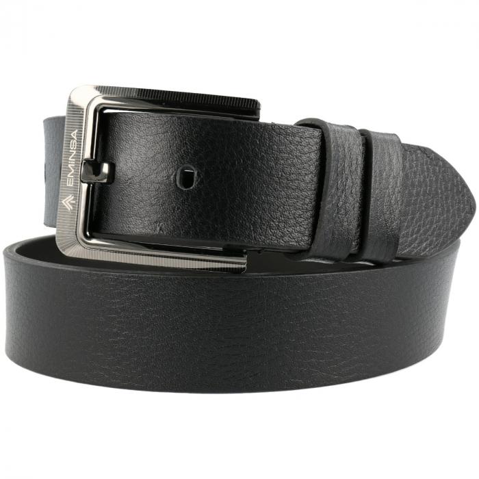 Curea lata pentru blugi din piele neagra, marca Eminsa, cu logo [0]