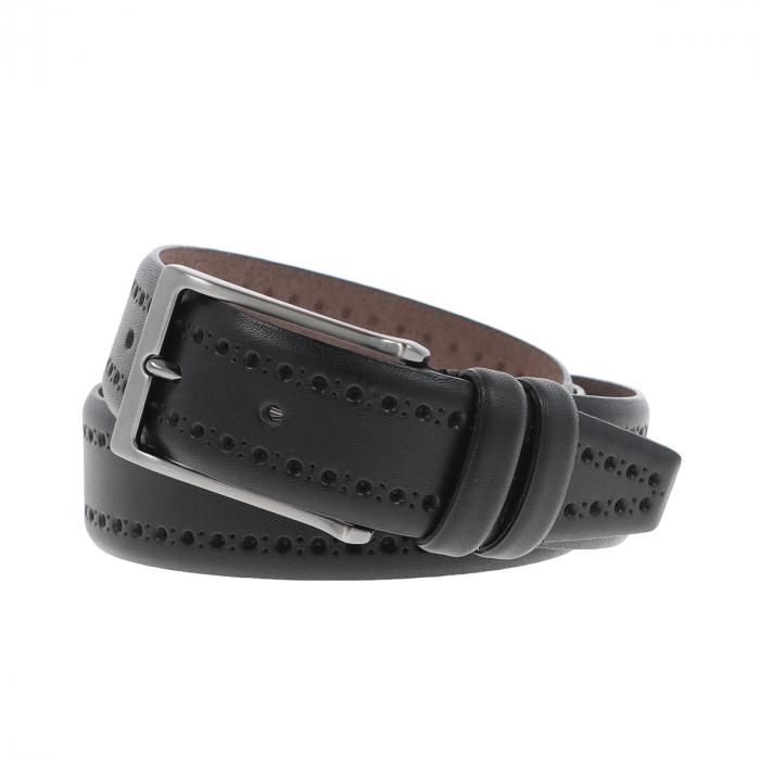 Curea neagra cu perforatii decorative din piele, pentru pantaloni casual, model 1087 [0]