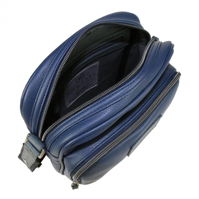 Geanta barbati Bugatti Moto D. cu fermoare, bleumarin [1]
