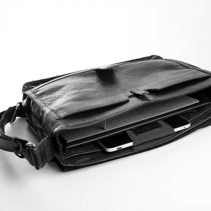 Geanta barbati Tony Bellucci pentru laptop si tableta, din piele naturala neagra T5057 [5]