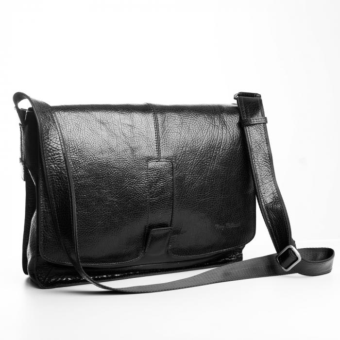 Geanta barbati Tony Bellucci pentru laptop si tableta, din piele naturala neagra T5057 [0]