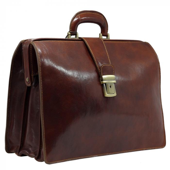 Geanta business tip doctor, din piele vachetta maro coniac, 4521 [0]