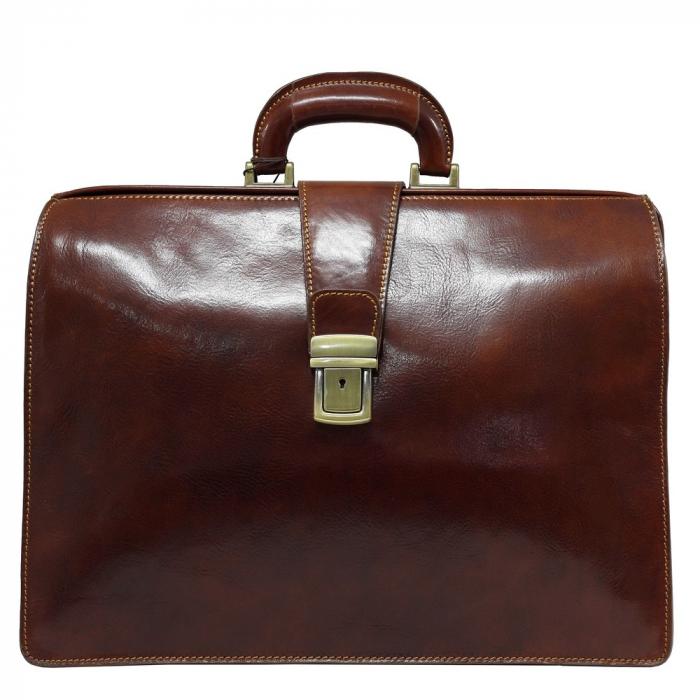 Geanta business tip doctor, din piele vachetta maro coniac, 4521 [1]