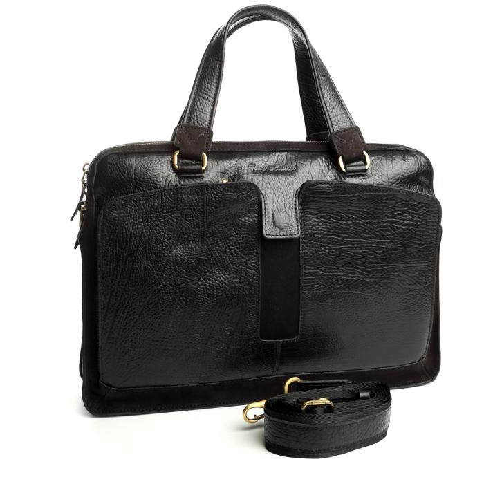 Geanta de acte din piele naturala neagra Tony Bellucci model T5059 [2]