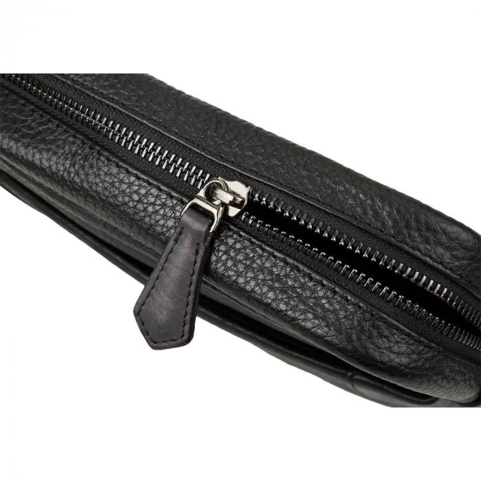 Geanta de barbati Bugatti, din piele naturala neagra Citta [5]