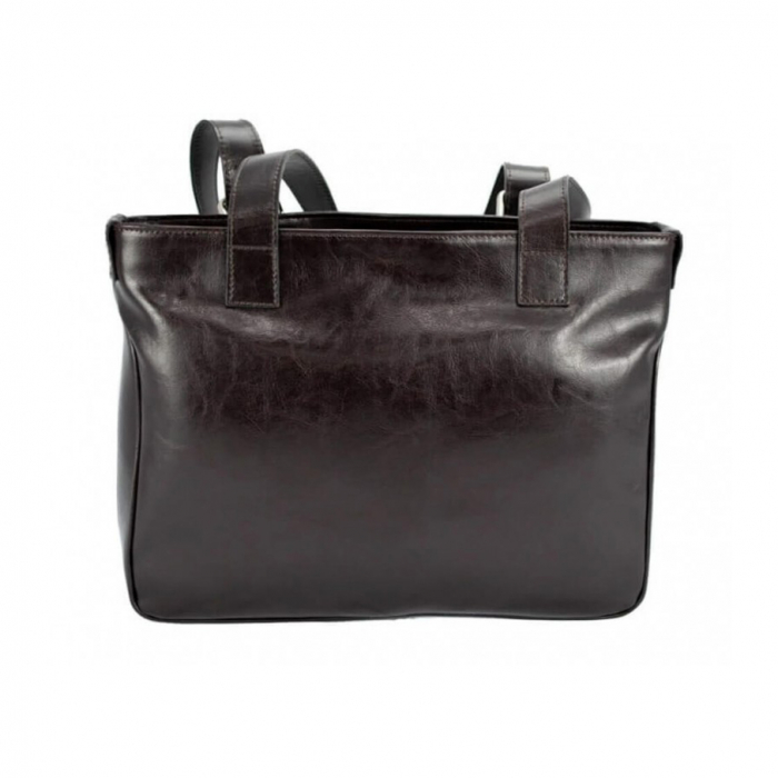 Geanta de dama cu buzunare aplicate, din piele naturala maro inchis, model 015 [1]