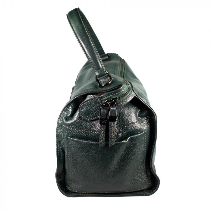 Geanta de dama din piele naturala, Tony Bellucci, model 323, Verde inchis [4]