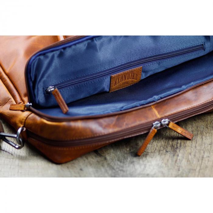 Geanta de laptop din piele naturala, Klondike, 13 inch, Maro coniac [5]