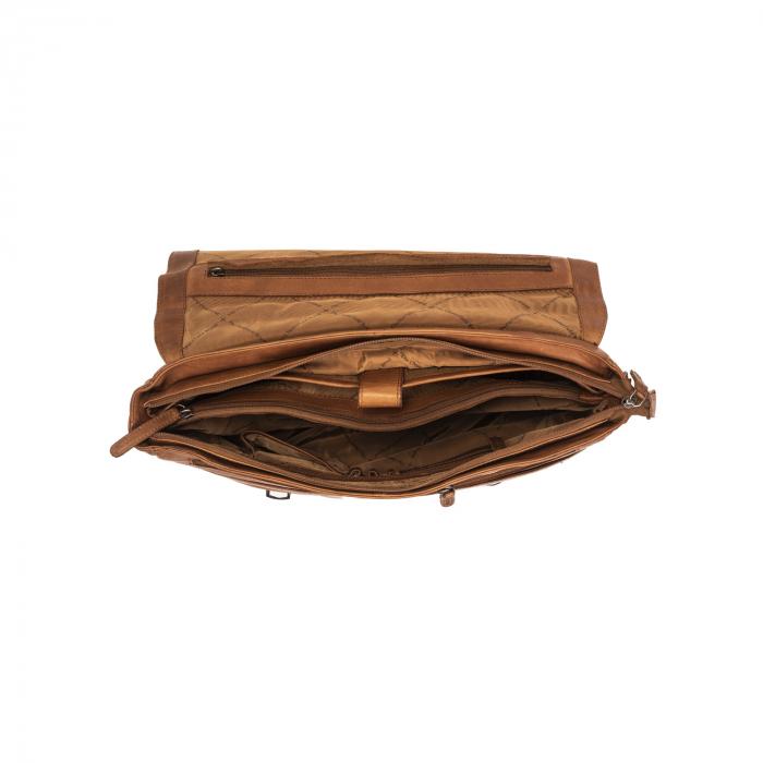 Geanta de laptop din piele naturala, The Chesterfield Brand, Belfast 15.6 inch, Maro coniac [2]