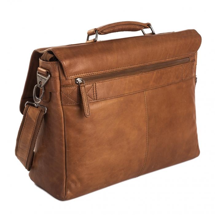Geanta de laptop din piele naturala, The Chesterfield Brand, Belfast 15.6 inch, Maro coniac [5]