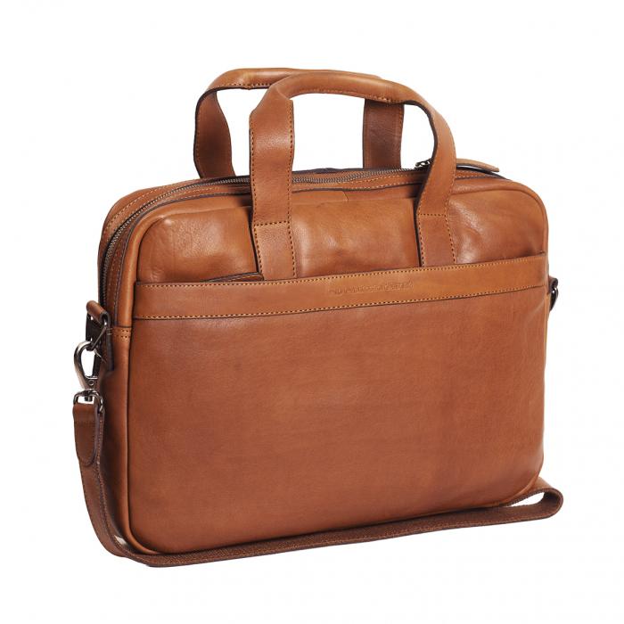 Geanta de laptop din piele naturala, The Chesterfield Brand, Dean 15.4 inch, Maro coniac [0]