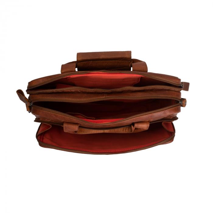 Geanta de laptop din piele naturala, The Chesterfield Brand, Geneva 15.6 inch, Maro coniac [2]