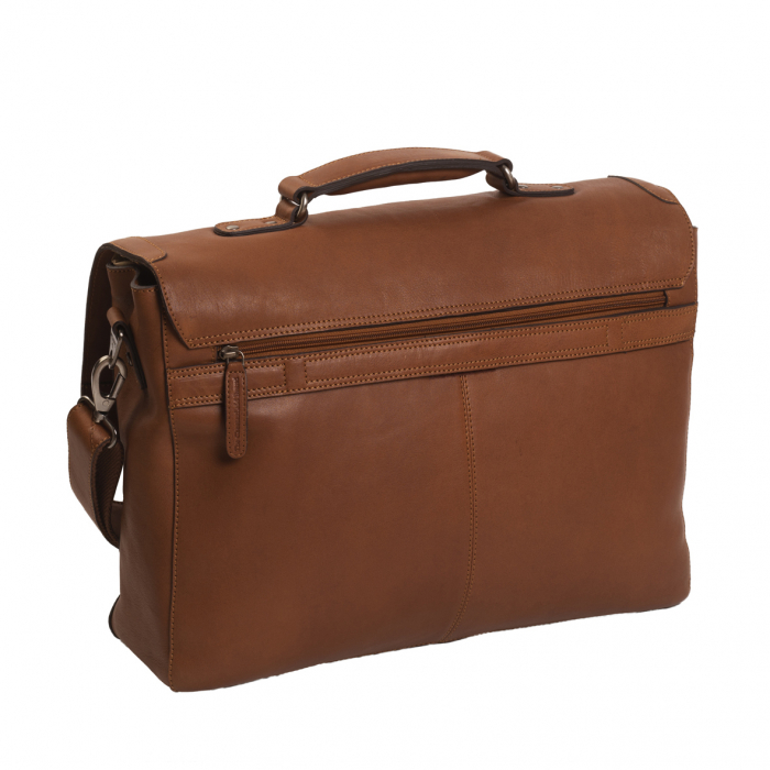 Geanta de laptop din piele naturala, The Chesterfield Brand, Iowa 15.6 inch, Maro coniac [5]