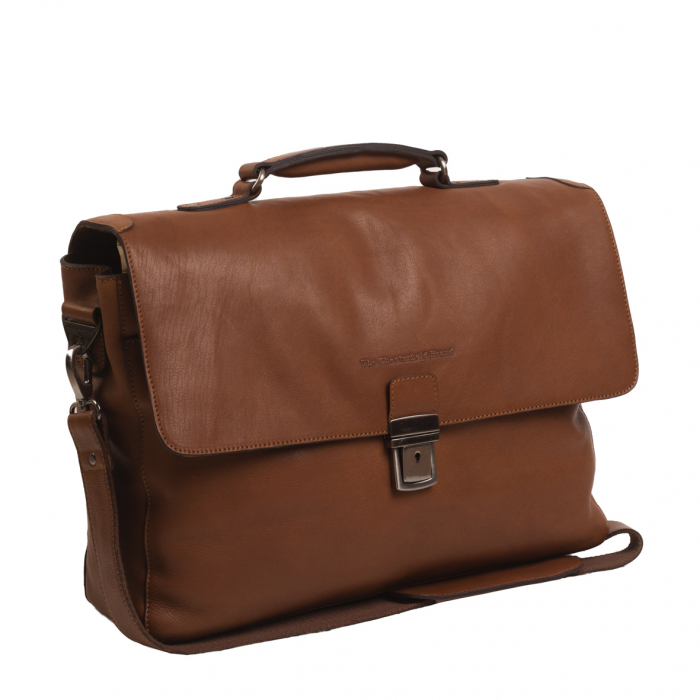 Geanta de laptop din piele naturala, The Chesterfield Brand, Iowa 15.6 inch, Maro coniac [0]