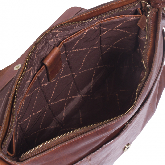 Geanta de laptop din piele naturala, The Chesterfield Brand, Maha 15.4 inch, Maro coniac [1]