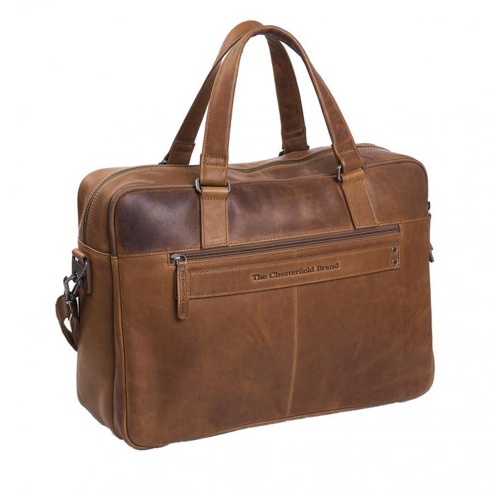 Geanta de laptop din piele naturala, The Chesterfield Brand, Misha 17 inch, Maro coniac [5]
