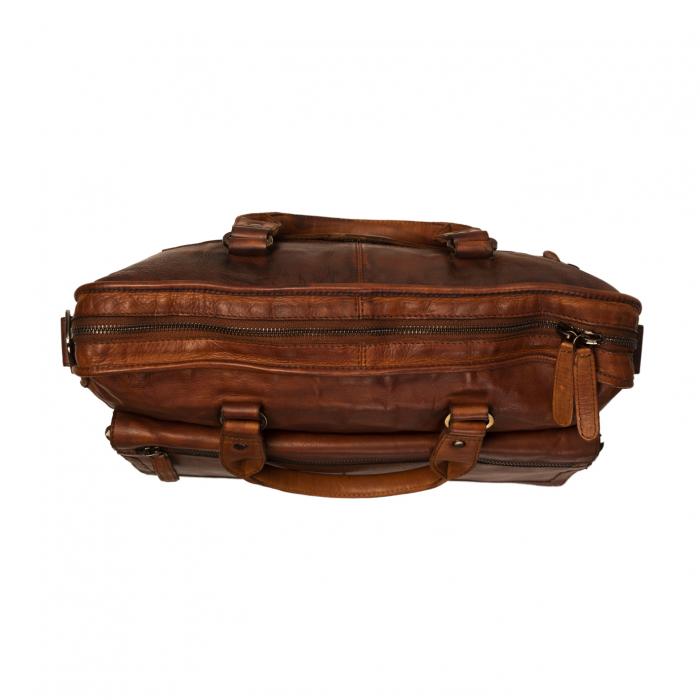 Geanta de laptop din piele naturala, The Chesterfield Brand, Rene 15.4 inch, Maro coniac [3]