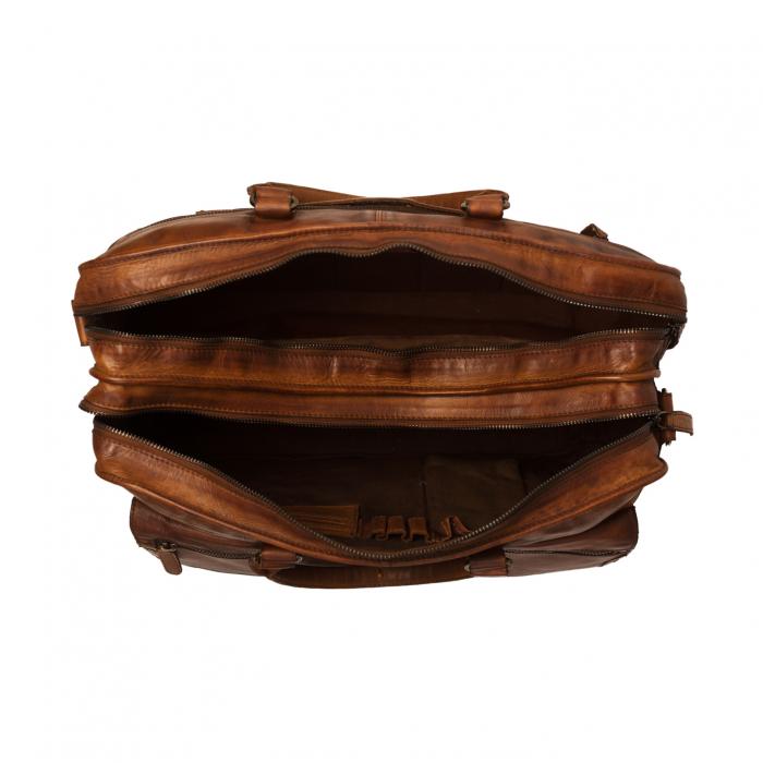 Geanta de laptop din piele naturala maro coniac, The Chesterfield Brand, Rowan 17 inch 1