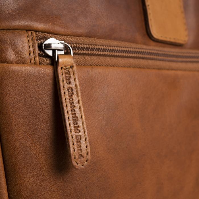 Geanta de laptop din piele naturala, The Chesterfield Brand, Seth 15 inch, Maro coniac [3]