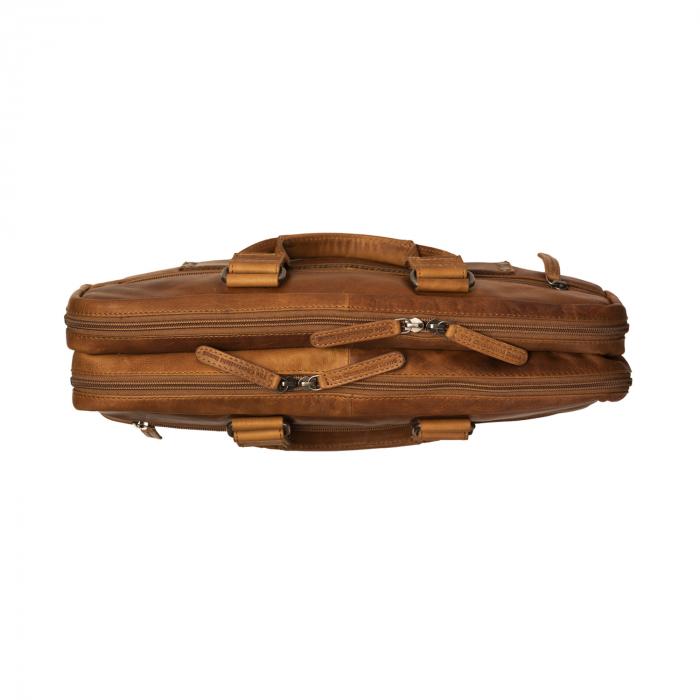 Geanta de laptop din piele naturala, The Chesterfield Brand, Seth 15 inch, Maro coniac [2]