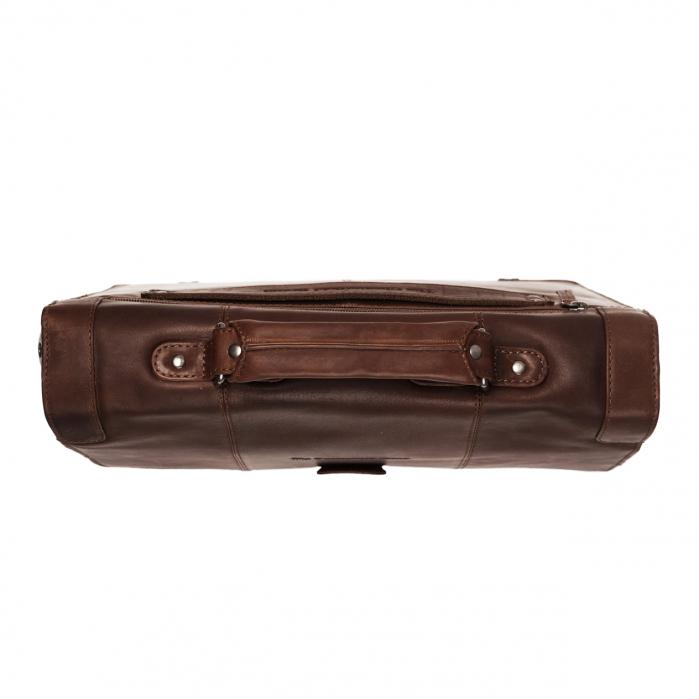 Geanta de laptop din piele naturala, The Chesterfield Brand, Joe 13 inch, Maro inchis [3]