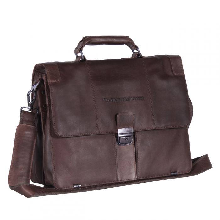 Geanta de laptop din piele naturala, The Chesterfield Brand, Joe 13 inch, Maro inchis [0]