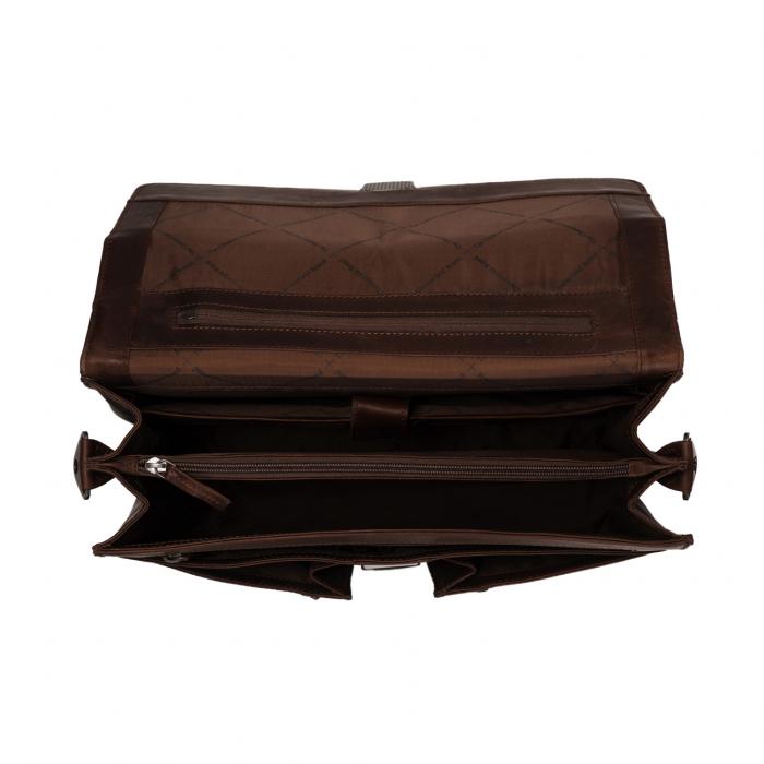 Geanta de laptop din piele naturala, The Chesterfield Brand, Joe 13 inch, Maro inchis [1]
