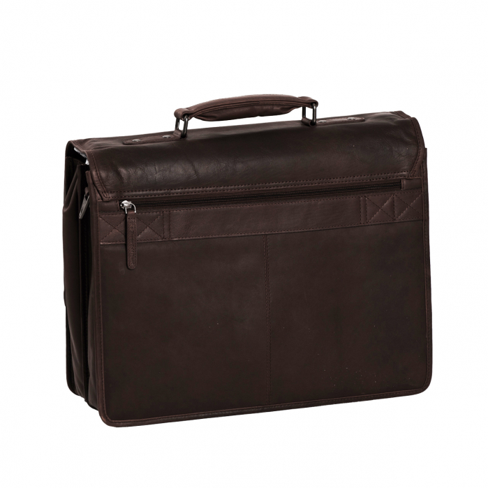 Geanta de laptop din piele naturala, The Chesterfield Brand, Shay 15.6 inch, Maro inchis [4]