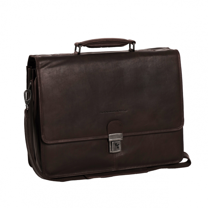 Geanta de laptop din piele naturala, The Chesterfield Brand, Shay 15.6 inch, Maro inchis [0]