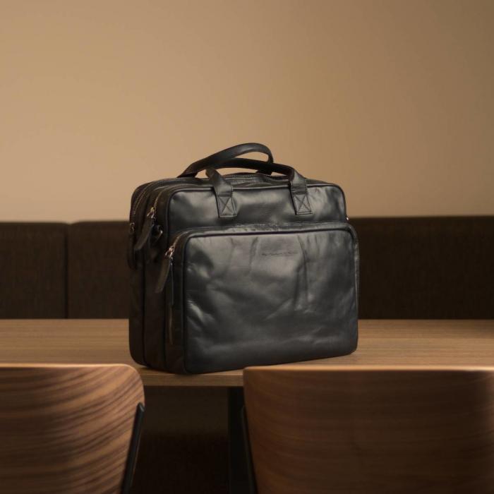 Geanta de laptop din piele naturala, The Chesterfield Brand, Jackson 15.6 inch, Negru [1]