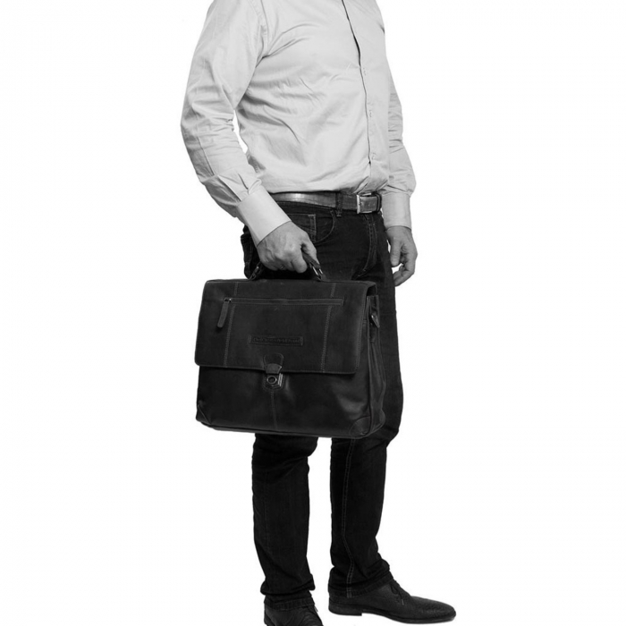 Geanta de laptop din piele naturala, The Chesterfield Brand, Matthew 15.6 inch, Negru [1]