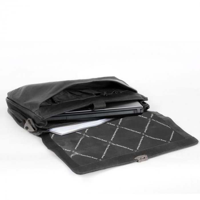 Geanta de laptop din piele naturala, The Chesterfield Brand, Matthew 15.6 inch, Negru [2]