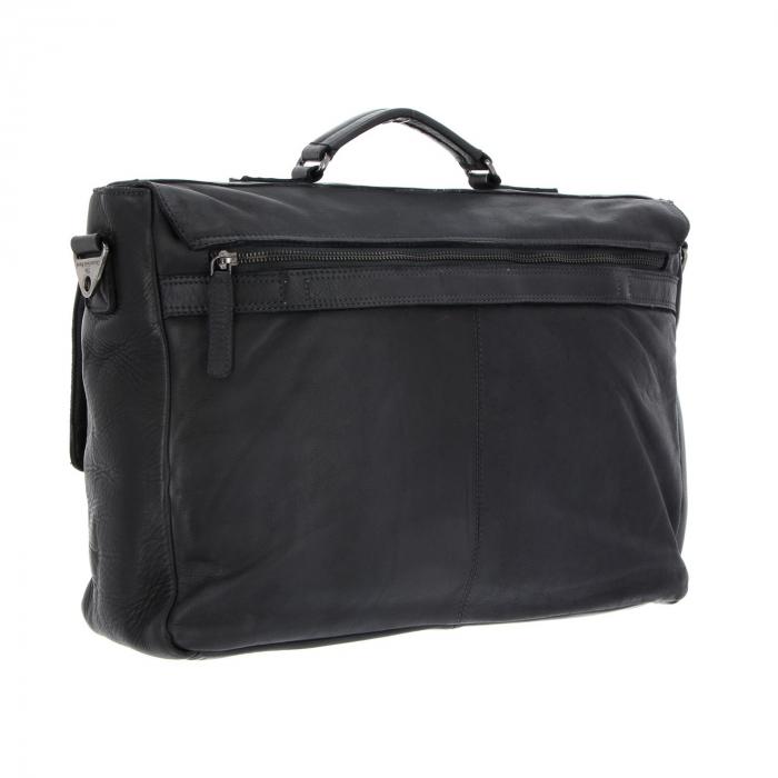 Geanta de laptop din piele naturala, The Chesterfield Brand, Quinten 17 inch, Negru [4]