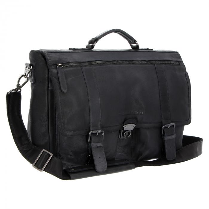 Geanta de laptop din piele naturala, The Chesterfield Brand, Quinten 17 inch, Negru [0]