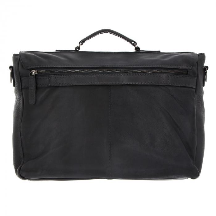 Geanta de laptop din piele naturala, The Chesterfield Brand, Quinten 17 inch, Negru [5]