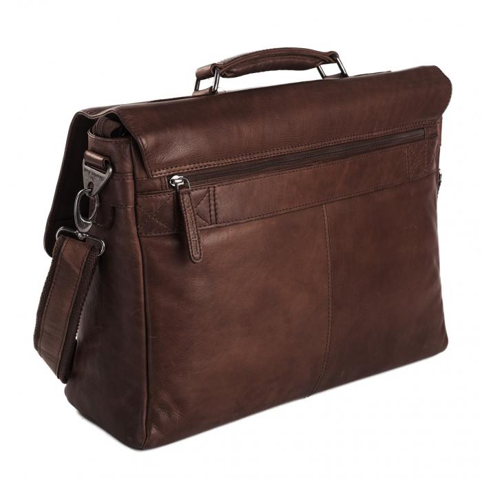 Geanta de laptop din piele naturala, The Chesterfield Brand, Belfast 15.6 inch, Maro inchis [4]