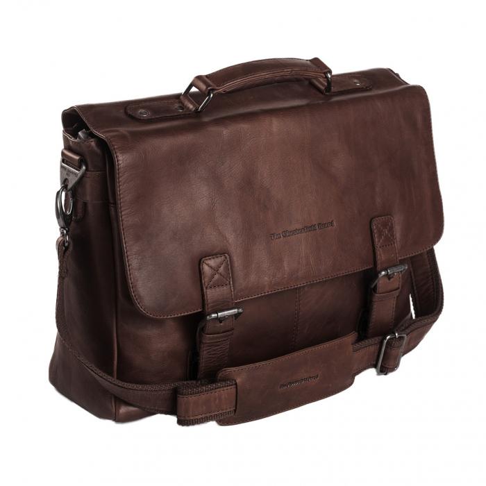 Geanta de laptop din piele naturala, The Chesterfield Brand, Belfast 15.6 inch, Maro inchis [0]