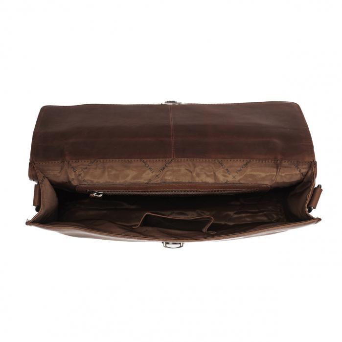 Geanta de laptop din piele naturala, The Chesterfield Brand, Brenn 12 inch, Maro inchis [1]