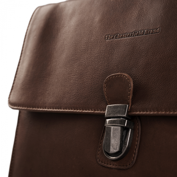 Geanta de laptop din piele naturala, The Chesterfield Brand, Brenn 12 inch, Maro inchis [3]
