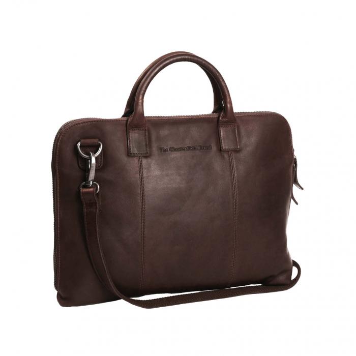 Geanta de laptop din piele naturala, The Chesterfield Brand, Harvey 14 inch, Maro inchis [0]