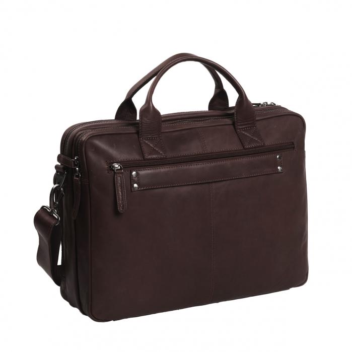 Geanta de laptop din piele naturala, The Chesterfield Brand, Jackson 15.6 inch, Maro inchis [4]