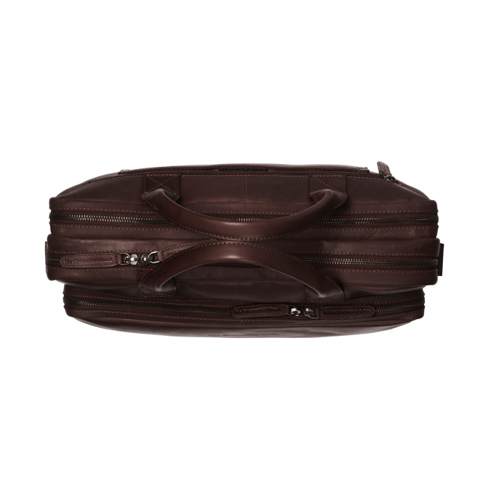 Geanta de laptop din piele naturala, The Chesterfield Brand, Jackson 15.6 inch, Maro inchis [2]